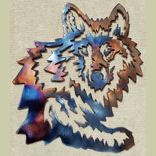 Load image into Gallery viewer, Wolf Head with Leg Metal Art (#102)