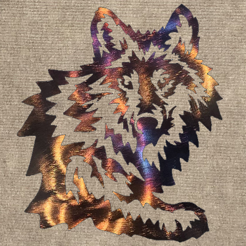 Wolf Head with Leg Metal Art (#102)