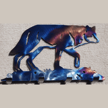 Load image into Gallery viewer, Wolf Walking Gently Key Holder (#105KH) - Mountain Metal Arts