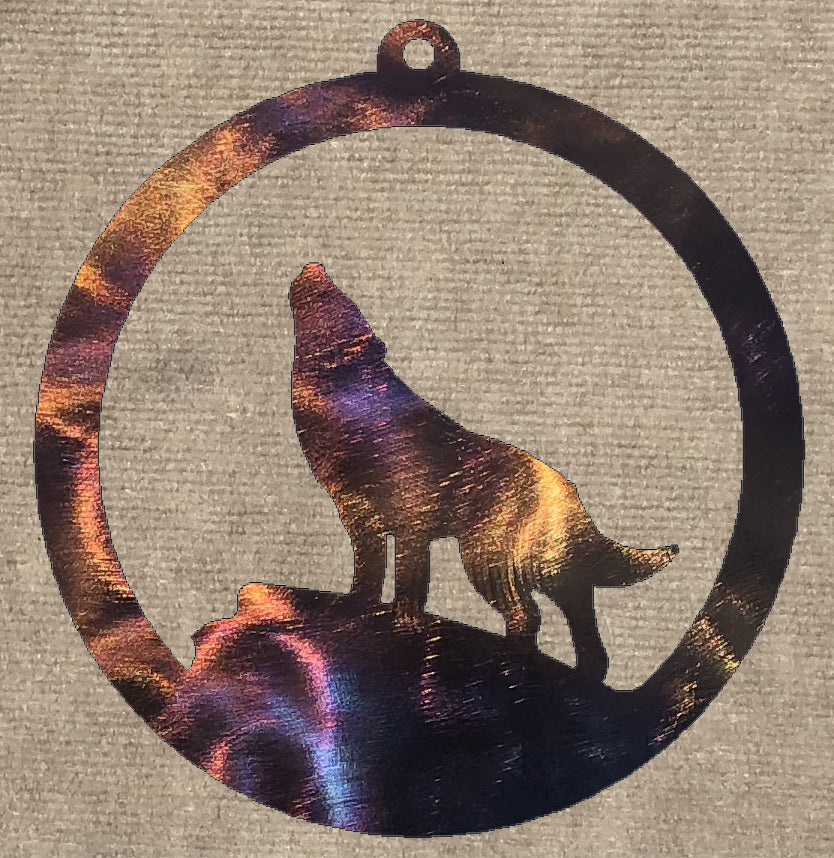 Wolf Howling in Circle Metal Art (#117)
