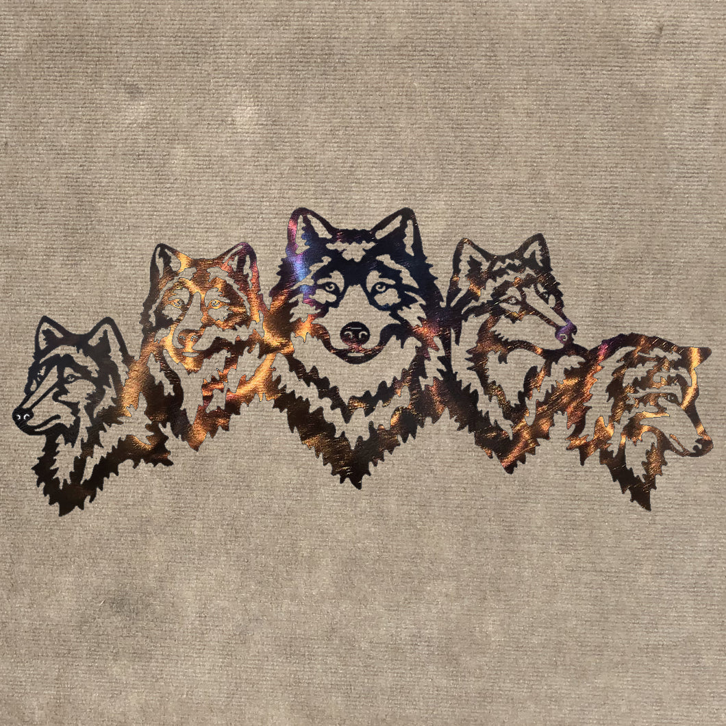 Wolves - Family of Three Metal Art (#120)