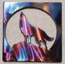 Load image into Gallery viewer, Wolf Howling on Hill in Square Metal Art (#123) - Mountain Metal Arts