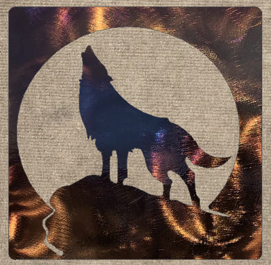 Wolf Howling on Hill in Square Metal Art (#123) - Mountain Metal Arts