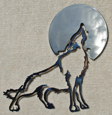 Wolf Howling Cut Out with Moon Metal Art (#124) - Mountain Metal Arts