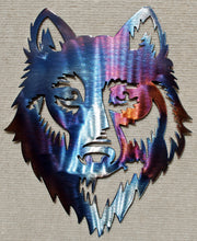 Load image into Gallery viewer, Wolf Face Front Metal Art (#126) - Mountain Metal Arts