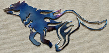 Load image into Gallery viewer, Wolf Running Cut Out and Flames Metal Art (#132) - Mountain Metal Arts