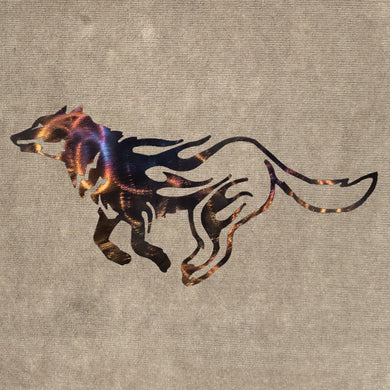 Wolf Running Cut Out and Flames Metal Art (#132) - Mountain Metal Arts