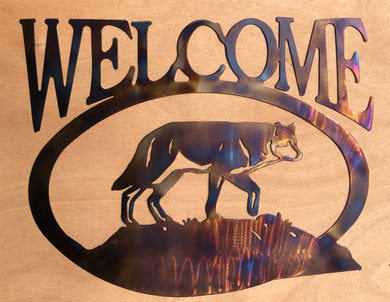 Wolf Welcome Sign (#135) - Mountain Metal Arts