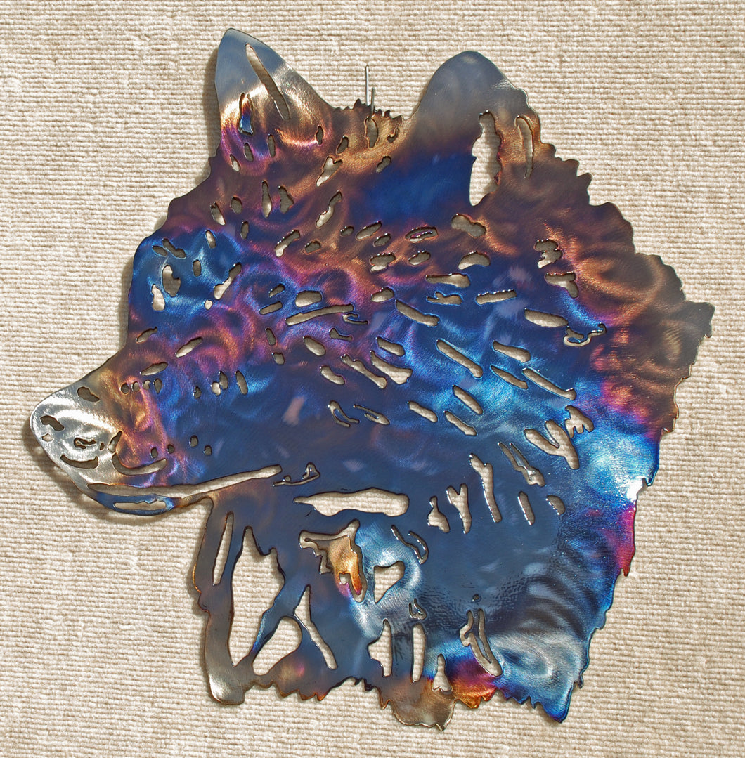 Wolf Head with Detail Metal Art (#136)