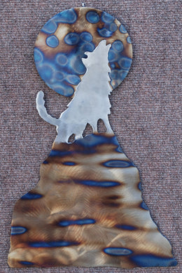 Wolf, Mountain and Moon Metal Art (#146) - Mountain Metal Arts