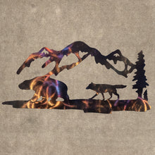 Load image into Gallery viewer, Wolf, Bear, Mountains and Trees Metal Art (#139)