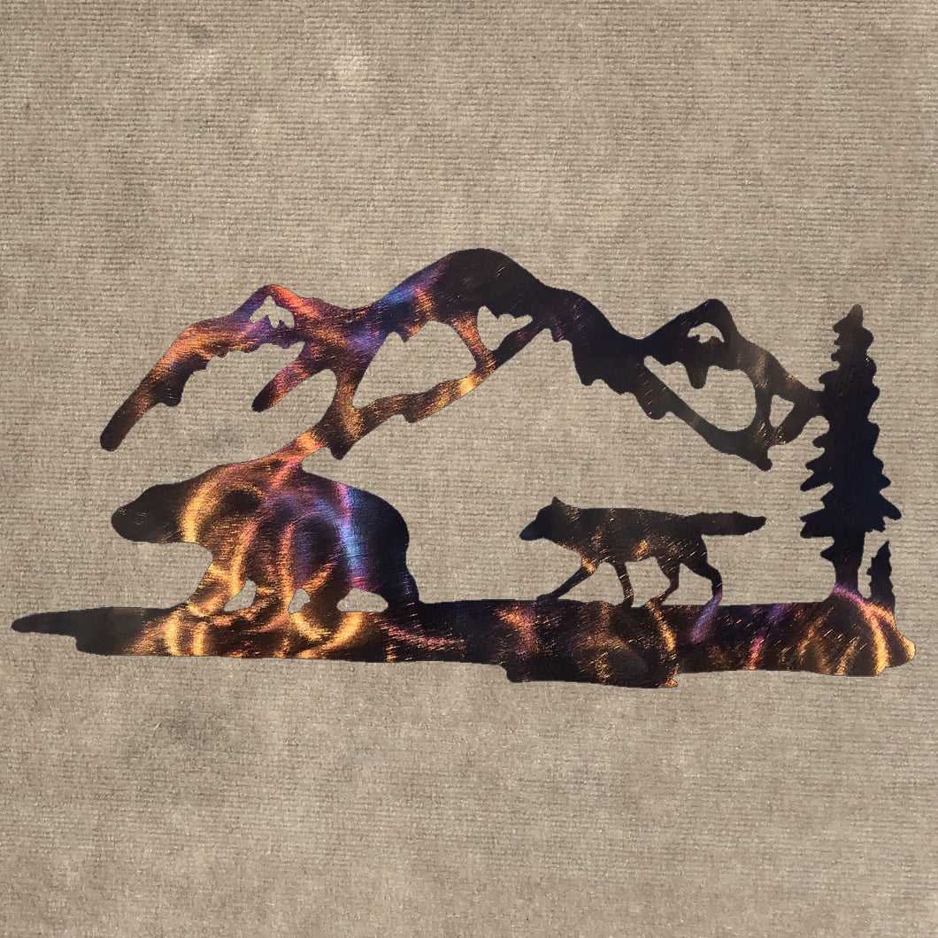Wolf, Bear, Mountains and Trees Metal Art (#139)