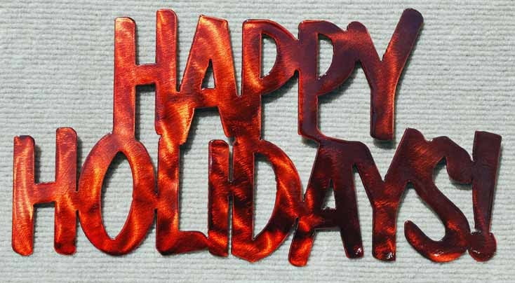 Happy Holidays Christmas Metal Wall Art - Mountain Metal Arts