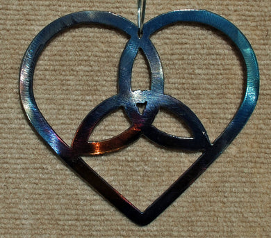 Celtic Heart with Triquestra Metal Art Sculpture - Mountain Metal Arts