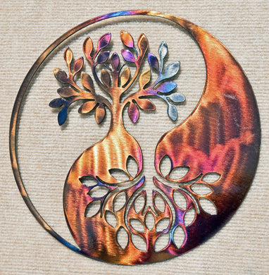 Tree of LIfe / Family Tree with Yin Yang Metal Art Sculpture - Mountain Metal Arts