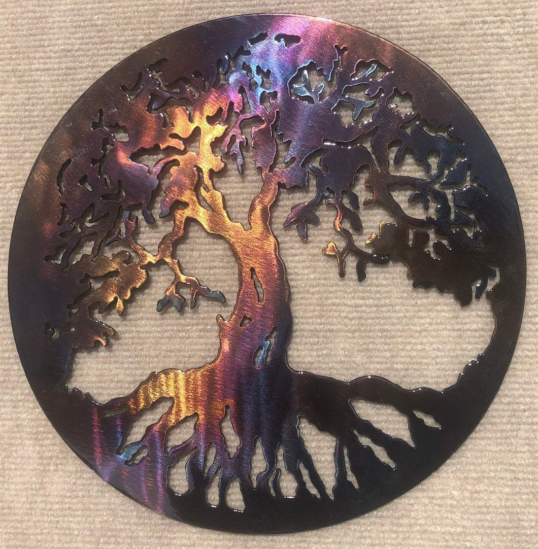 Tree of Life / Family Tree Round Metal Art Sculpture