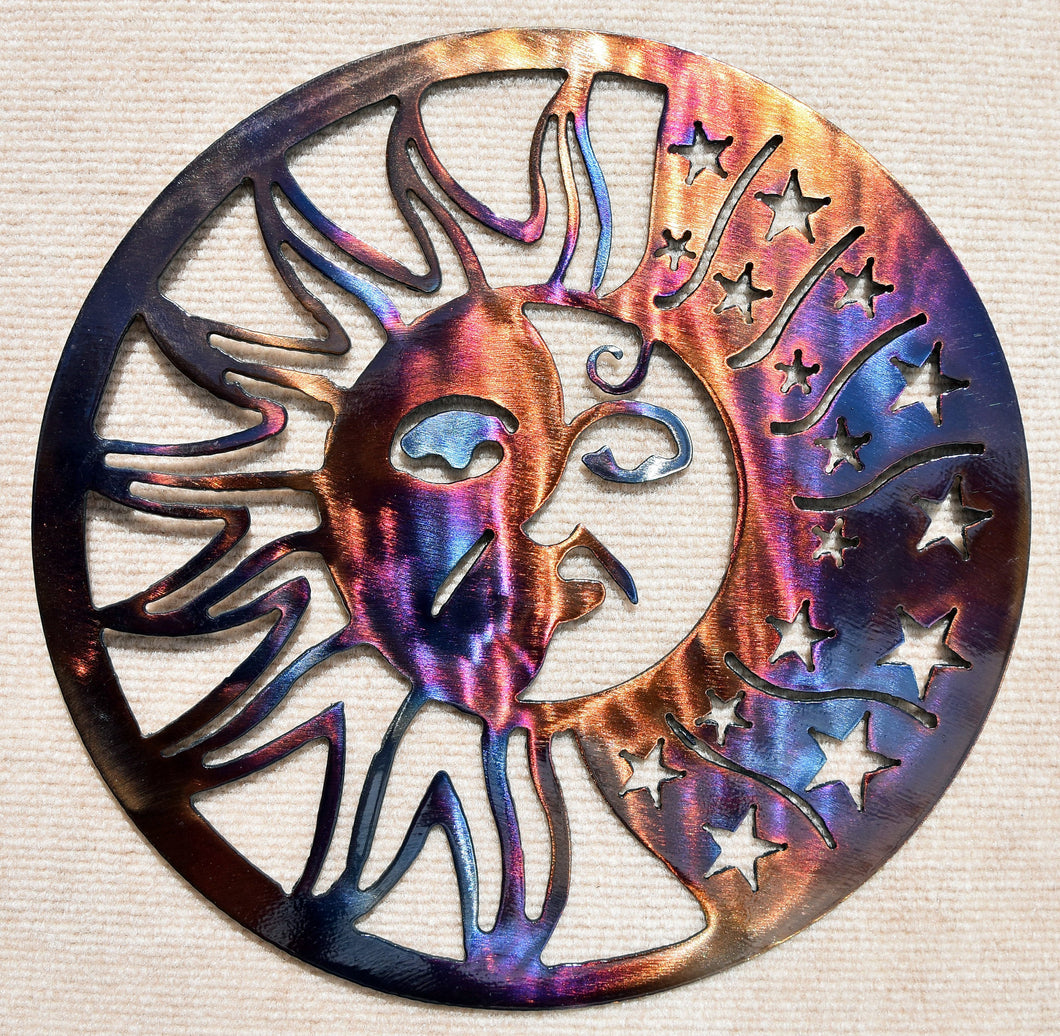 Sunface with Stars Metal Art Sculpture - 12