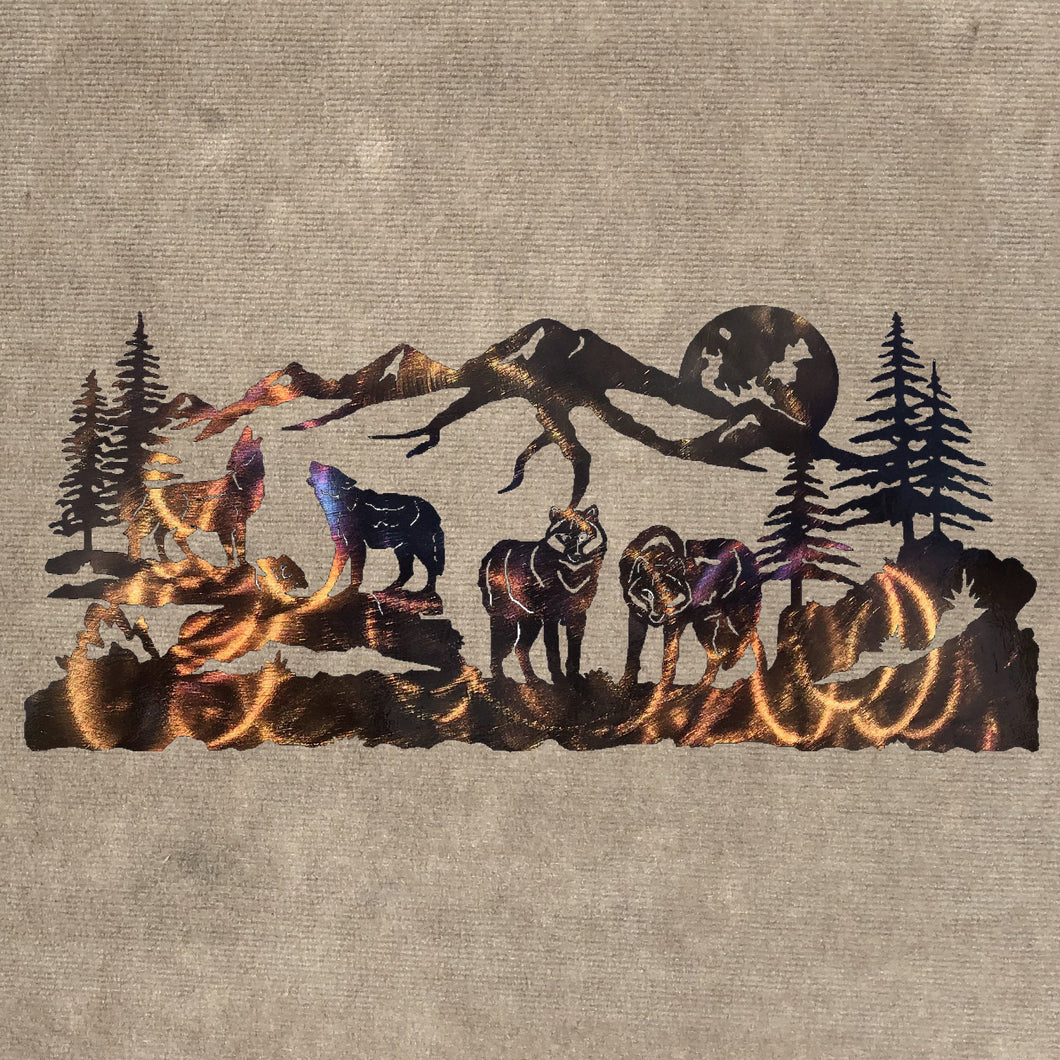 Wolf Pack with Mountains, Trees and Moon Metal Art Sculpture (#143) - Mountain Metal Arts
