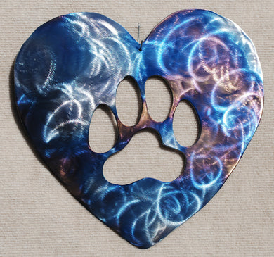 Heart with Dog / Cat Paw Metal Art - Mountain Metal Arts