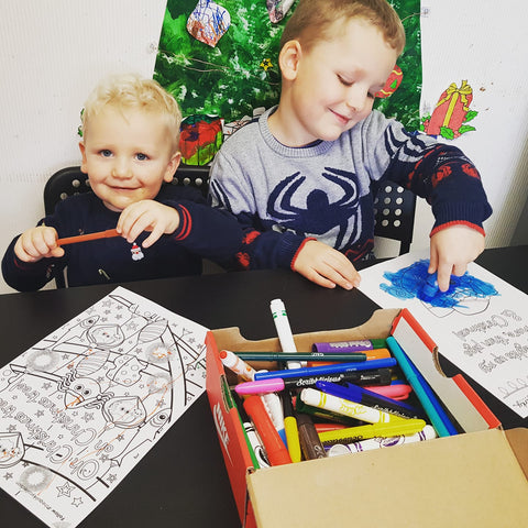 Colouring in fun with Cheez n Pickle from the Quirky Collection Falkirk Scotland