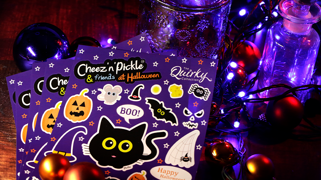 Cheez n Pickle & friends at Halloween sticker sheet by The Quirky Collection