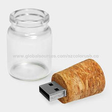 Load image into Gallery viewer, bottle shape attached wooden USB PEN DRIVE