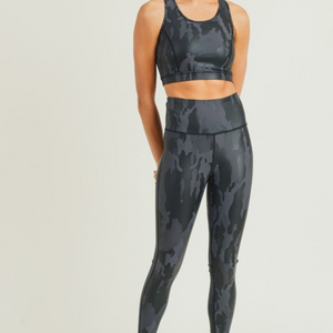 Camo Foil Split Mesh Back Sports Bra