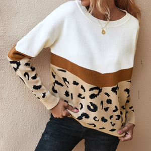 Womens Leopard Block Sweater