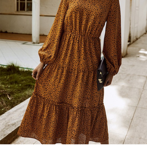 Long, Flowy, Dot Dress-Apricot