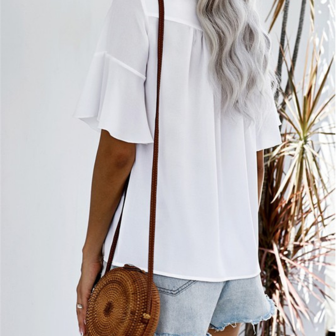 White Embroidered Ruffle Short Sleeve Top