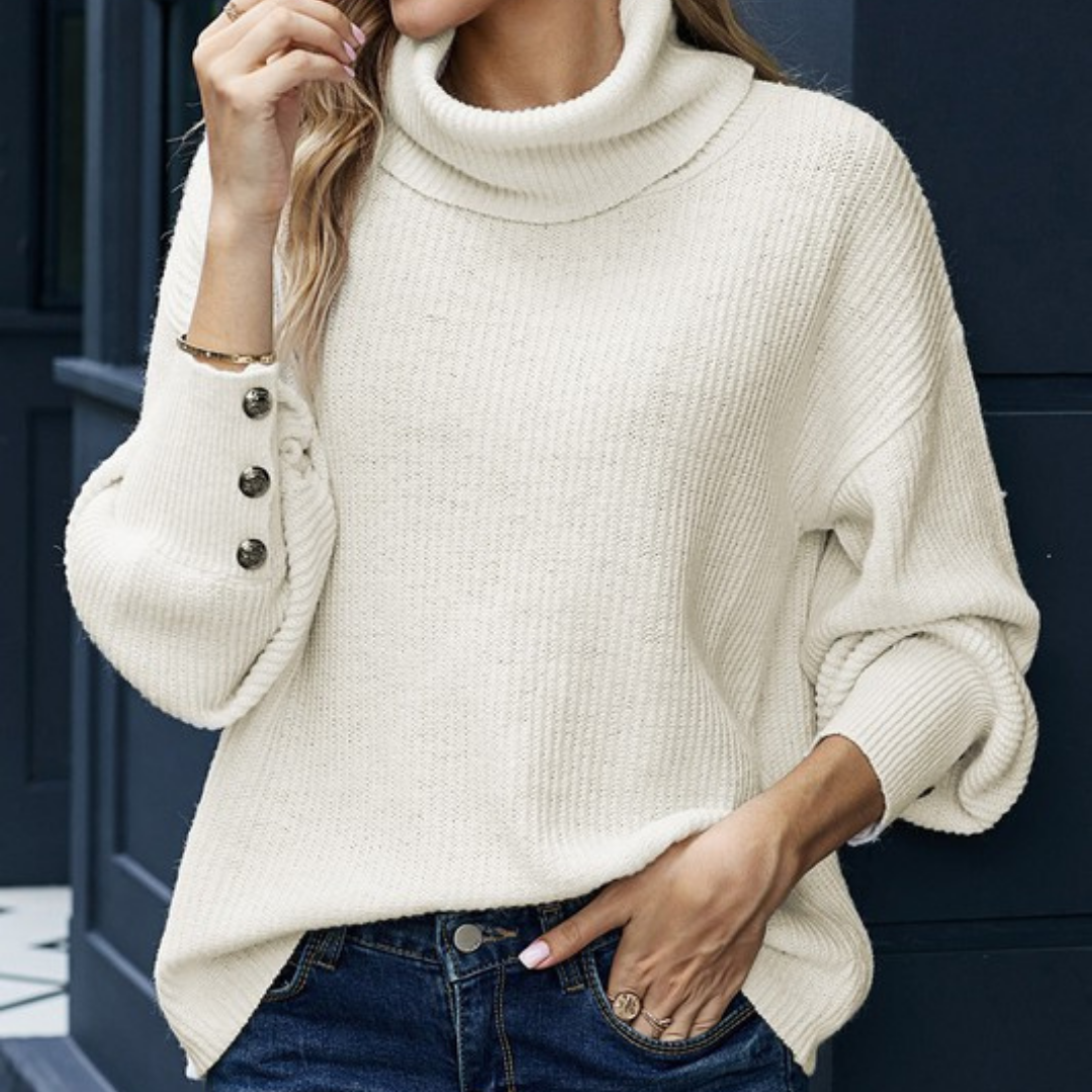 Lantern Sleeve Turtleneck Sweater-White