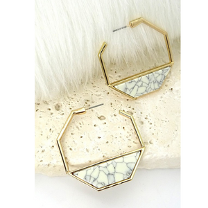 Geometric White Hoop Earrings