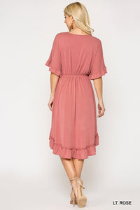 Light Rose Button Down Ruffle V-Neck Dress