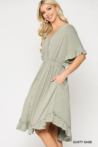 Sage Button Down Ruffle V-Neck Dress