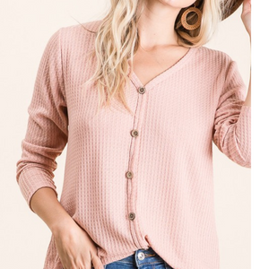 Faux Button Waffle Knit Top
