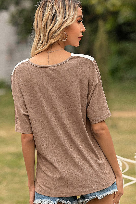 Neutral Color Block Shirt