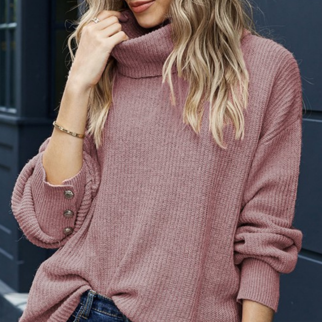 Lantern Sleeve Turtleneck Sweater-Pink