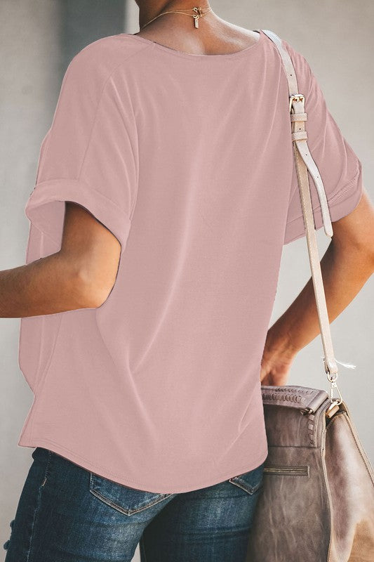 Basic Short Sleeve Twist Top