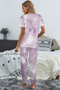 Purple Tie Dye Tee Lounge Set