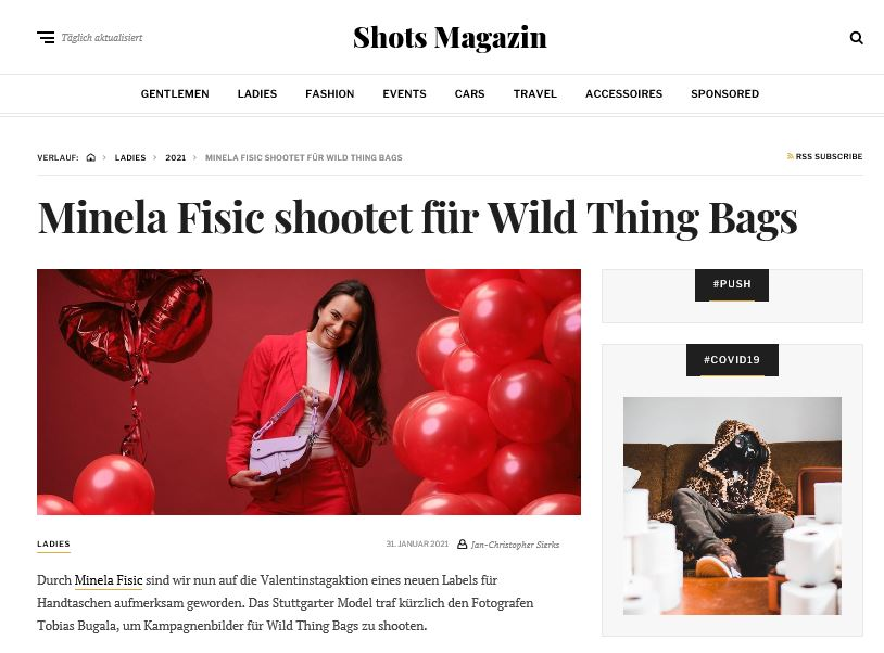 Artikel über wildthingbags im Shots Magazin