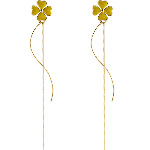 Trendy drop earrings 925 sterling silver; Leaf clover design  Korean style; drop earrings gold