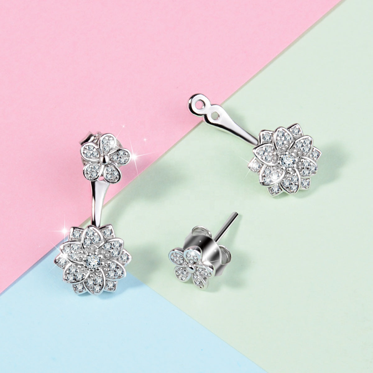 Elegant drop earrings; delicate back hanging design; 925 sterling silver with crystal; two way style earrings