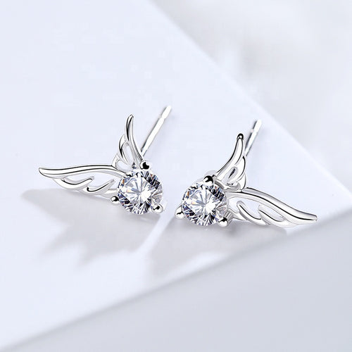 Dainty stud earrings; Angel Wings 925 sterling silver zircon earrings; everyday  wear earrings