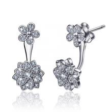 Load image into Gallery viewer, Elegant drop earrings; delicate back hanging design; 925 sterling silver with crystal
