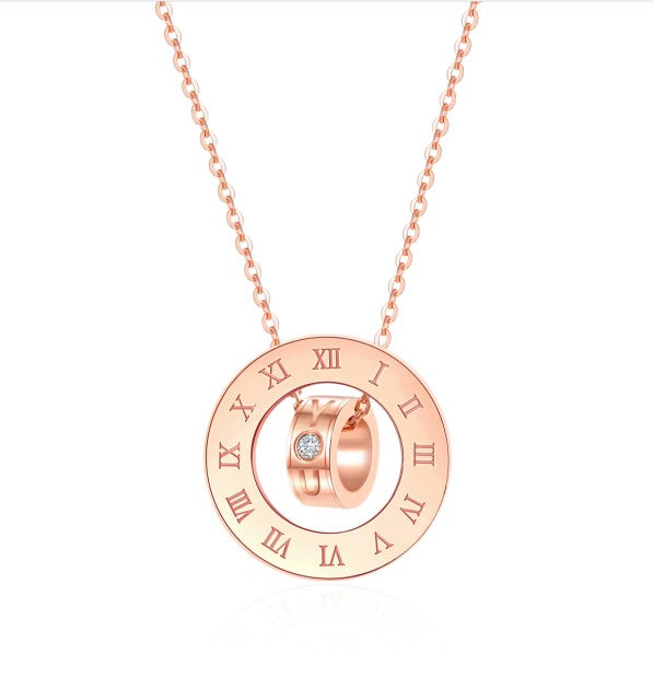 18K Rose Gold Pendant Necklace fits for girl / women; best everyday fashion jewelry