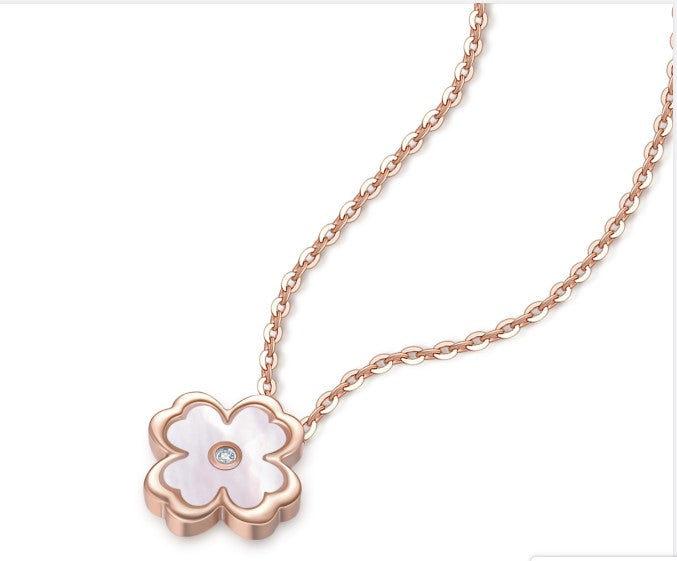 Rose Gold - Four-leaf clover Pendant Necklace