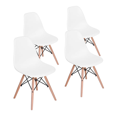 Rico Dining Chairs Set of 4, Fashion Kitchen Room Chairs Leisure Side Plastic Chairs with wood Legs