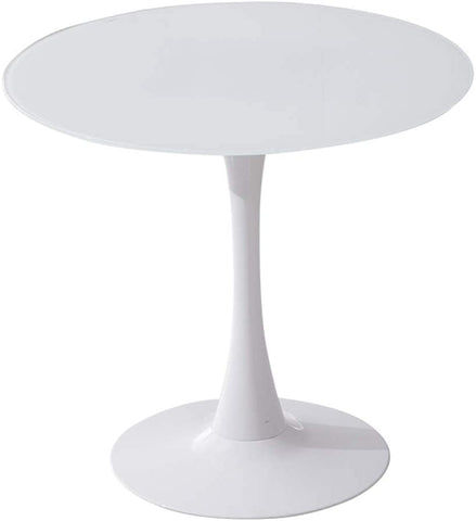 "Tomile 32"" Tulip Style Dining Table Plywood Round Kithen Dining Table Mid-Century Modern Round top Coffee Table with Metal Pedestal Base (White)"