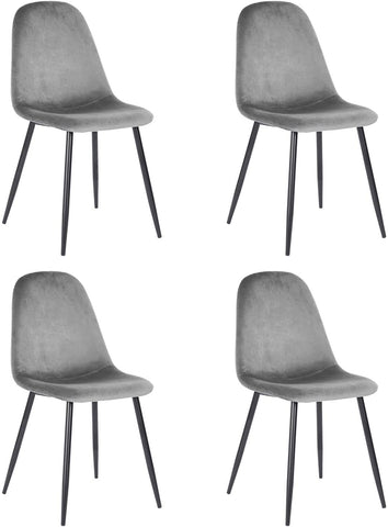Set of 4 Modern Sturdy Dining Room Chairs Home Office Chair Kitchen Chairs with Grey Velvet Cushion Seat Back, Scandinavian Living Room Chairs with Black Metal Legs