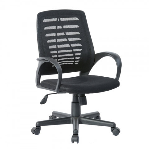 Office Chair Ergonomic Chair Mid Back Mesh PP Plastic Computer Chair Lumbar Support Modern Executive Adjustable Stool Rolling Swivel Chair in Black